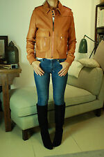 CHLOE Tan Buttery Soft Leather Bomber Jacket 38 UK10 RRP£2,500