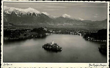 Bled Slowenien alte s/w Postkarte 1937 gelaufen Bleder See Insel Marienkirche