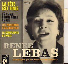 """RENEE LEBAS """"LA COMPLAINTE DE PARIS"""" POP VOCAL JAZZ 60'S EP BARCLAY 70467"""