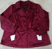 LANE BRYANT~Women's Size 28~Burgundy Lightwear Jacket Button Front Stretch.