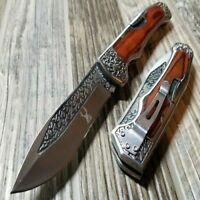 "9"" Wood Handle Folding Camping Outdoor Pocket Knife 3CR13 Steel Engraved Design"