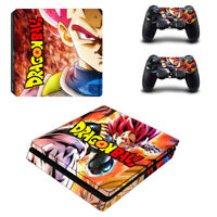 Dragon Ball Decal Vinyl Skin Stickers for Sony PS4 Slim Console & 2 Controllers