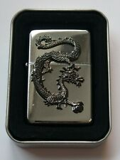 More details for hadson chrome chinese dragon petrol cigarette lighter in original metal case