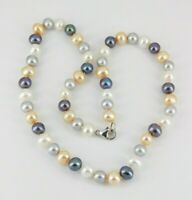 """925 Sterling Silver Multi Color Pearl Necklace 18"""" Long"""