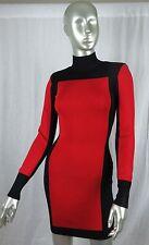BALMAIN X H&M COLORBLOCK WOMENS TURTLE NECK DRESS BLACK RED SIZE 2