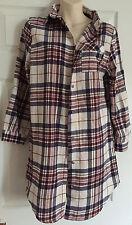 Ladies Womens Night Shirt Lounge Wear Long Sleeve Checked Top Pyjama Size Small