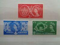 GREAT BRITAIN 1957 SCOUT JUBILEE JAMBOREE 3v SET MNH MINT SG557/559