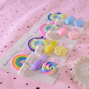 3pcs Girl Cloud Lollipop Rainbow Hairpins Cartoon Bobby Pin Hair Clips For Girls