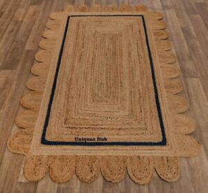 Rug 100% Natural Jute Breided Style Reversible scallop Rug Area Carpet Rag Rug