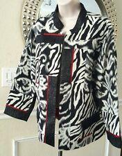 Chico's Ladies Animal Print Jacket Zebra Black White  Open Front Size 3 = Large