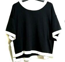 Black Knit Kimono Top With White Contrast Trim