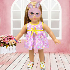 Purple Handmade Doll Clothes Dress for 18 inch Doll Baby Kids Gift