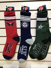 NHL SOCKS TEAM COLOURS CREW SOCKS 100% AUTHENTIC*Bruins*Leafs*Jets*Wings*Wild