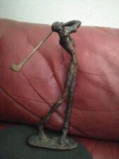 LARGE Vintage Bronze Metal Art Sculpture Statue Figurine Male Golfer 9.5