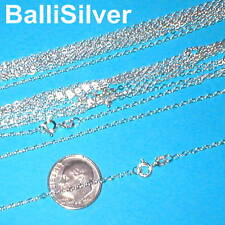 "10 pieces 16.5"" 42cm Sterling Silver 925 Italian Fine FLAT CABLE Chains Lot"