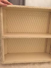 Vtg Bathroom Shelf Cream Antique White Wicker Rattan Vanity Shabby Chic Cottage