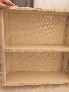 Vtg Bathroom Shelf Cream Antique White Wicker Rattan Vanity Shabby Chic Cottage