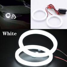 Pair 80mm DRL COB LED Angel Eyes Halo Ring Fog Headlight Lamp Light White