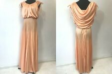 0d7786eb2c Vintage 1970s Peach Accordion Pleated size M Maxi Prom Dress Draped Shirred  DS19