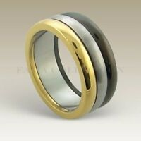 FAMA 6mm Stainless Steel Classic Wedding Band Ring with REAL Diamond Size 10-12