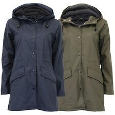 Ladies Rain Coat Brave Soul Womens PU PVC Long Hoodie Jacket Fleece Lined Winter