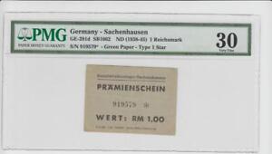 Lager Sachsenhausen, 1 RM Prämienschein, Nr. 919579, R! gebraucht, Grading 30