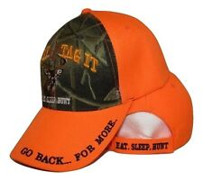 Eat Sleep Hunt Hunting Bag It Tag It Camouflage & Orange Embroidered Cap Hat