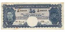 Australia 1949 Coombs Watt 5 Pound KGVI Note gF