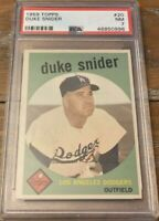 1959 TOPPS #20 DUKE SNIDER PSA 7 Near MINT HOF Dodgers Brooklyn Los Angeles