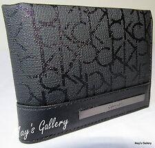 Calvin Klein Passcase Wallet BiFold Bill Faux Leather Purse Bag case Men CK NWT
