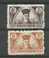 """Complete set of 2 new* stamps  INDO CHINA 1944."""" Alexandre de Rhodes """" (4068)"""
