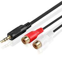 Premium 3.5mm Male to 2RCA Female Stereo Audio Extension Cable Adapter-6CM 6FT