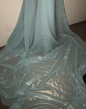 """5 MTR TWO TONE MINT/GOLD SHIMMER CHIFFON FABRIC...58"""" WIDE £12.49"""