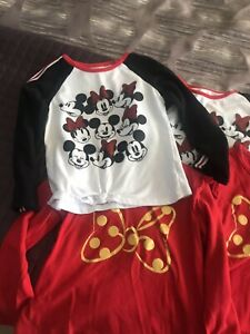 Twins Disney Girls Minnie Mouse Graphic Print Long Sleeve Shirt Lot Sz5/6