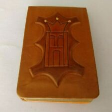 Vintage ITALIAN LEATHER CHESS KING NOTEPAD NOTEBOOK NOTES ITALY MID CENTURY MOD