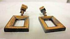 """Vintage Copper Screw Back Earrings - 1 1/2"""" Dangle Geometric Design"""