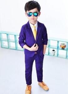 Teenager Kids Boys Party Wedding Blazer Suit Coat Pants Blouse Sets For Concert