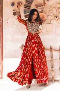 Women Indian Ethnic Palazzo Kurta Set Bollywood Style Front Cut Kurti Stitched