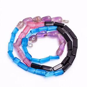 "Apatite Amethyst Black Onyx Gemstone Smooth Beads 6-12 mm Necklace 18"" GB-7933"