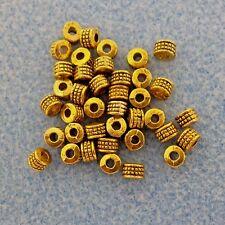 Antique Gold Alloy Metal Barrel Beads 50 Pieces  4mm x 3.2mm #0113