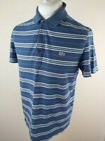 Mens Lacoste Polo Shirt Dark Blue Stripe 4 Reg Fit 40 To 42 Chest