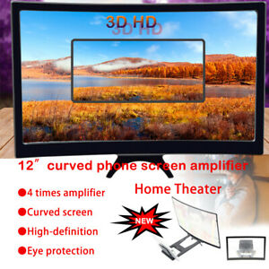 12in Curved Folding Phone Video Screen Amplifier Magnifier Universal Stand 3D HD