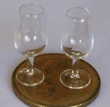 1:12 Scale 2 Clear Wine Glasses Tumdee Dolls House Miniature Accessory GLA13