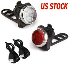 Bicycle Head & Tail Led Light Usb Rechargeble Cycling Headlight Set Front&Back