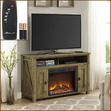 Barn Door Electric Fireplace TV Stand Cabinet Media Center w Remote Rustic 50""