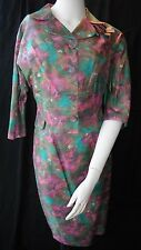 Mid century two piece silk pencil skirt/jacket colorful painterly floral s/m