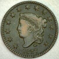 1827 Coronet Head One Cent Copper Large Cent Coin 1c US Coin Very Fine