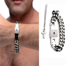 Titanium Steel Jewelry Set Chained Locking Bracelet With Key Necklace For Men