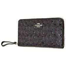NWT Coach Signature Debossed Black Patent Leather Phone Wristlet Wallet F57469