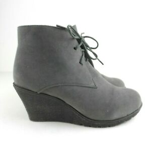Chix Ankle Wedge Boot UK 7 Grey Faux Suede Lace Up Vegan Friendly